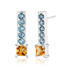 2.50 Carats Princess Citrine Round London Topaz Earrings in Sterling Silver