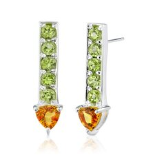 2.00 Carats Trillion Citrine Round Peridot Earrings in Sterling Silver