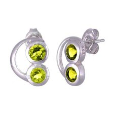 Round Cut Peridot Earrings Sterling Silver