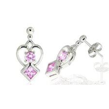 Round Princess Cut Cz Drop Earrings Sterling Silver
