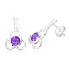 Round Cut Gemstone Drop Earrings Sterling Silver