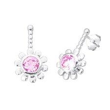 Round Cut Gemstone Drop Earrings Sterling Silver