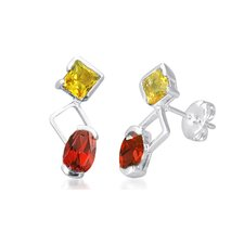 Princess Gemstone Oval Garnet Drop Earrings Sterling Silver