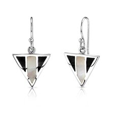 White Mother of Pearl and Black Onyx Earrings in Sterling Silver