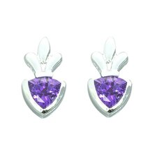 1.50 Ct.T.W. Genuine Trillion Cut Gemstone Earrings in Sterling Silver