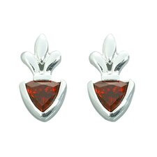 2.00 Ct.T.W. Genuine Trillion Cut Garnet Earrings in Sterling Silver