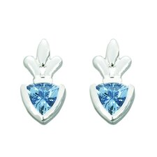 1.50 Ct.T.W. Genuine Trillion Cut Swiss Blue Topaz Earrings in Sterling Silver
