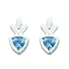 1.50 Ct.T.W. Genuine Trillion Cut Swiss Blue Topaz Earrings in Sterling Silver