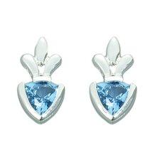 1.50 Ct.T.W. Genuine Trillion Cut London Blue Topaz Earrings in Sterling Silver
