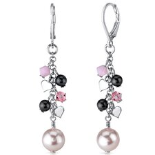 Vision of Love Drop Earrings with s and Cultured Pearls Heart Motif in Sterling Silver with Swarovski Elements