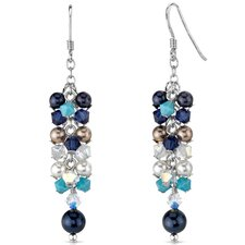 Lost in Atlantis s and Cultured Pearls Cascade Drop Earrings in Sterling Silver with Swarovski Elements