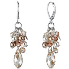 Champagne On Ice s and Cultured Pearls Drop Earrings in Sterling Silver with Swarovski Elements