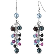 Gypsy Queen s and Cultured Pearls Drop Earrings in Sterling Silver with Swarovski Elements