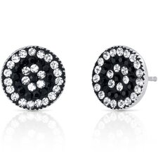 Concentric Circles II Earrings with Swarovski Jet Black and Clear Crystals in Sterling Silver
