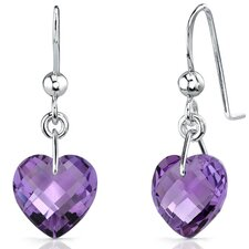 Extraordinary 6.50 carats Heart Shape Genuine Gemstone earrings in Sterling Silver