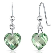 Extraordinary Heart Shape Genuine Gemstone Earrings in Sterling Silver