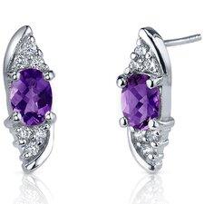 Dashing Dazzle Gemstone Oval Cut Cubic Zirconia Earrings in Sterling Silver