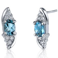 <strong>Oravo</strong> Dashing Dazzle 1.50 Carats London Blue Topaz Oval Cut Cubic Zirconia Earrings in Sterling Silver