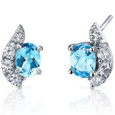 Sparkling Wave 1.50 Carats Swiss Blue Topaz Oval Cut Cubic Zirconia Earrings in Sterling Silver