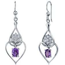 Illuminating Hearts Gemstone Oval Cut Dangle Cubic Zirconia Earrings in Sterling Silver