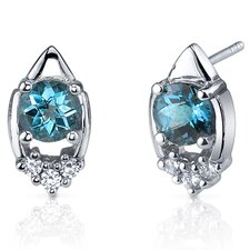 Majestic Charm 2.00 Carats London Blue Topaz Round Cut Cubic Zirconia Earrings in Sterling Silver