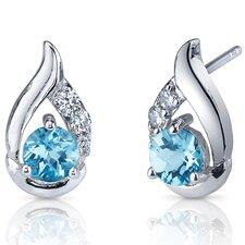 Radiant Teardrop 1.00 Carats Swiss Blue Topaz Round Cut Cubic Zirconia Earrings in Sterling Silver