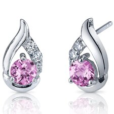 <strong>Oravo</strong> Radiant Teardrop 1.50 Carats Pink Sapphire Round Cut Cubic Zirconia Earrings in Sterling Silver