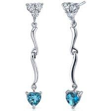 Brilliant Love 2.00 Carats London Blue Topaz Heart Shape Dangle Cubic Zirconia Earrings in Sterling Silver