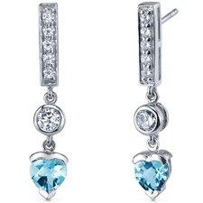 Exotic Love 1.50 Carats Swiss Blue Topaz Heart Shape Dangle Cubic Zirconia Earrings in Sterling Silver