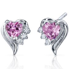 Cupids Grace 1.50 Carats Pink Sapphire Heart Shape Cubic Zirconia Earrings in Sterling Silver