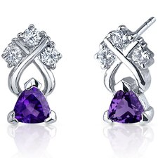 Regal Elegance 1.00 Carats Gemstone Trillion Cut Cubic Zirconia Earrings in Sterling Silver