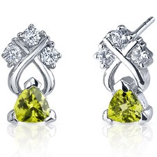 Regal Elegance 1.00 Carats Peridot Trillion Cut Cubic Zirconia Earrings in Sterling Silver