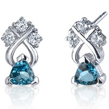 <strong>Oravo</strong> Regal Elegance 1.00 Carats London Blue Topaz Trillion Cut Cubic Zirconia Earrings in Sterling Silver