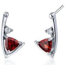 Modern Sophistication 2.00 Carats Garnet Trillion Cut Cubic Zirconia Earrings in Sterling Silver