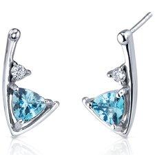 Modern Sophistication 1.50 Carats Swiss Blue Topaz Trillion Cut Cubic Zirconia Earrings in Sterling Silver