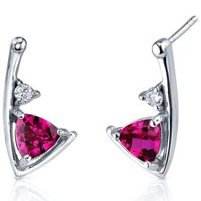 Modern Sophistication 2.00 Carats Ruby Trillion Cut Cubic Zirconia Earrings in Sterling Silver