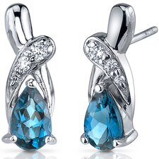 Graceful Glamour 2.00 Carats London Blue Topaz Pear Shape Cubic Zirconia Earrings in Sterling Silver