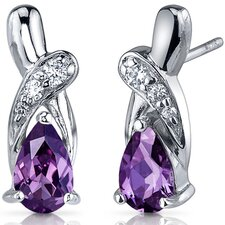 Graceful Glamour 2.00 Carats Alexandrite Pear Shape Cubic Zirconia Earrings in Sterling Silver