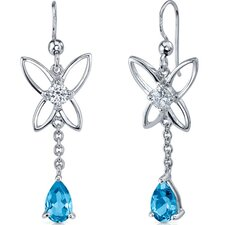 Butterfly Design 2.00 Carats Swiss Blue Topaz Pear Shape Dangle Cubic Zirconia Earrings in Sterling Silver