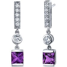 Exotic Sparkle Gemstone Princess Cut Dangle Cubic Zirconia Earrings in Sterling Silver