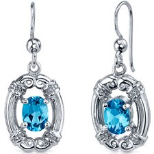 Antique Style 2.00 Carats Swiss Blue Topaz Oval Cut Dangle Cubic Zirconia Earrings in Sterling Silver