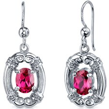 <strong>Oravo</strong> Antique Style 2.00 Carats Ruby Oval Cut Dangle Cubic Zirconia Earrings in Sterling Silver