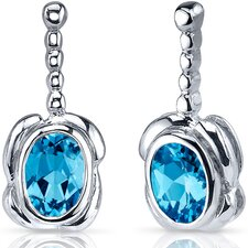 Vivid Curves 2.00 Carats Swiss Blue Topaz Oval Cut Earrings in Sterling Silver