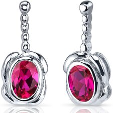 Vivid Curves 2.00 Carats Ruby Oval Cut Earrings in Sterling Silver