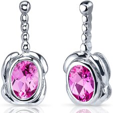 Vivid Curves 2.00 Carats Pink Sapphire Oval Cut Earrings in Sterling Silver