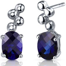 Bubbly 2.00 Carats Blue Sapphire Oval Cut Earrings in Sterling Silver