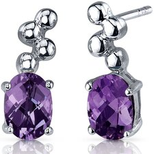 Bubbly 2.00 Carats Alexandrite Oval Cut Earrings in Sterling Silver