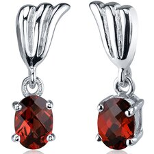Striking 2.00 Carats Garnet Oval Cut Earrings in Sterling Silver