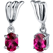 Striking 2.00 Carats Ruby Oval Cut Earrings in Sterling Silver