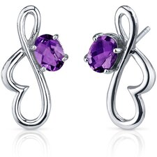 <strong>Oravo</strong> Rhythmic Curves Gemstone Oval Cut Earrings in Sterling Silver